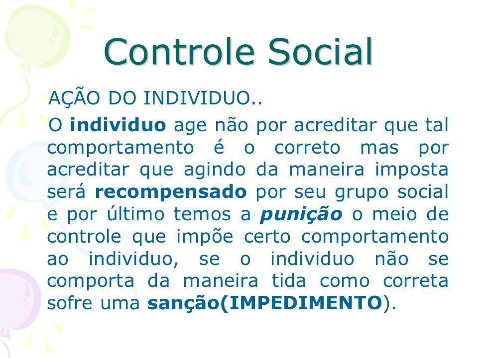 Controle Social AÇÃO DO INDIVIDUO..