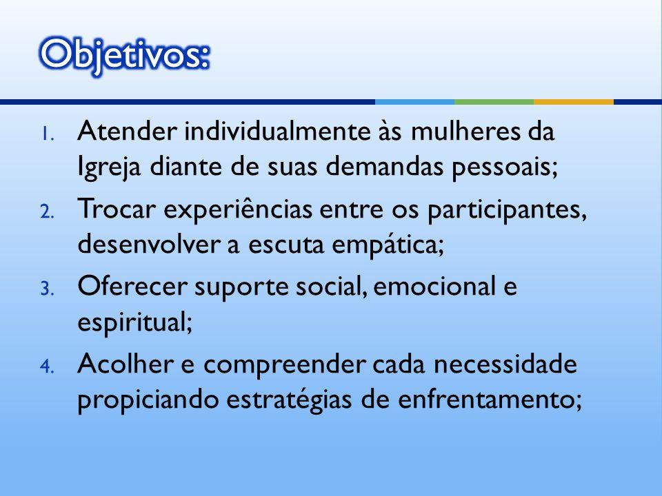 Objetivos: Atender individualmente às mulheres da Igreja diante de suas demandas pessoais;