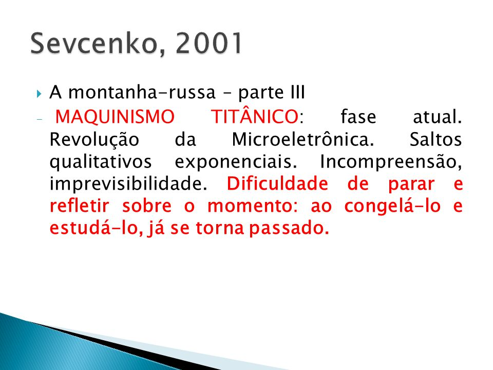 Sevcenko, 2001 A montanha-russa – parte III