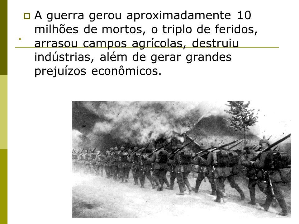 A guerra gerou aproximadamente 10 milhões de mortos, o triplo de feridos, arrasou campos agrícolas, destruiu indústrias, além de gerar grandes prejuízos econômicos.