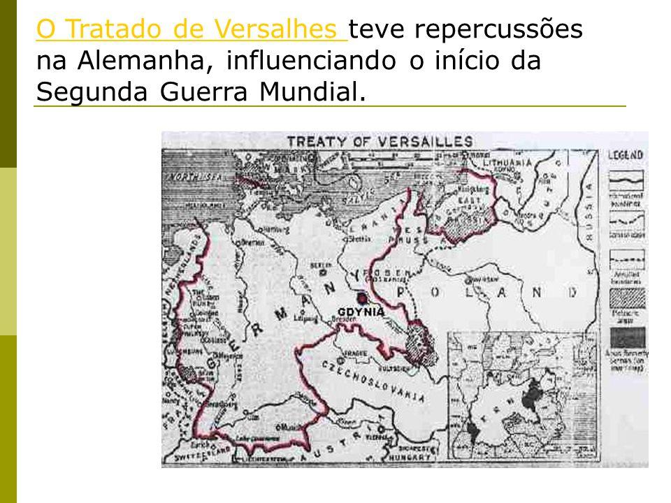 O Tratado de Versalhes teve repercussões na Alemanha, influenciando o início da Segunda Guerra Mundial.