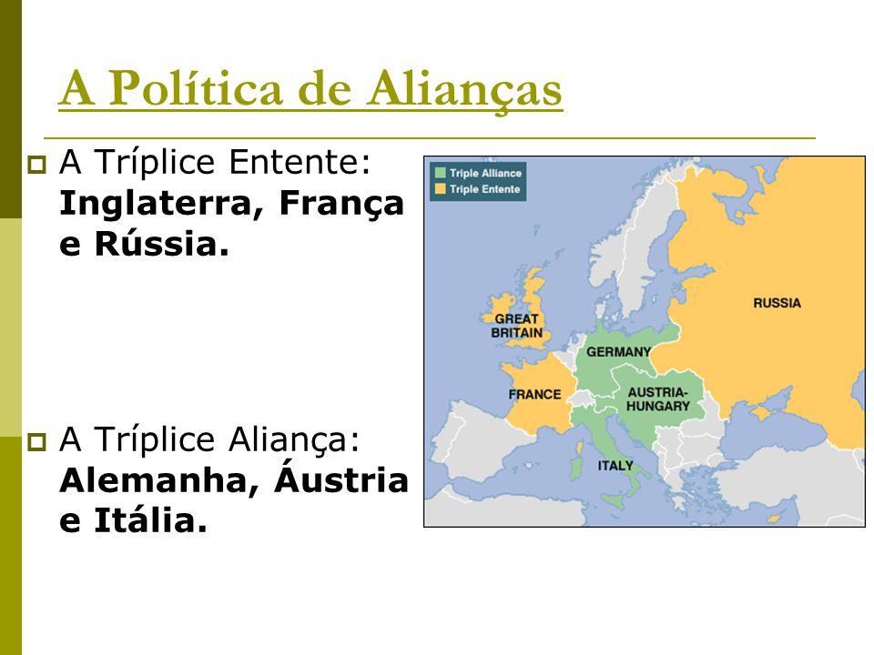 A Política de Alianças A Tríplice Entente: Inglaterra, França e Rússia.