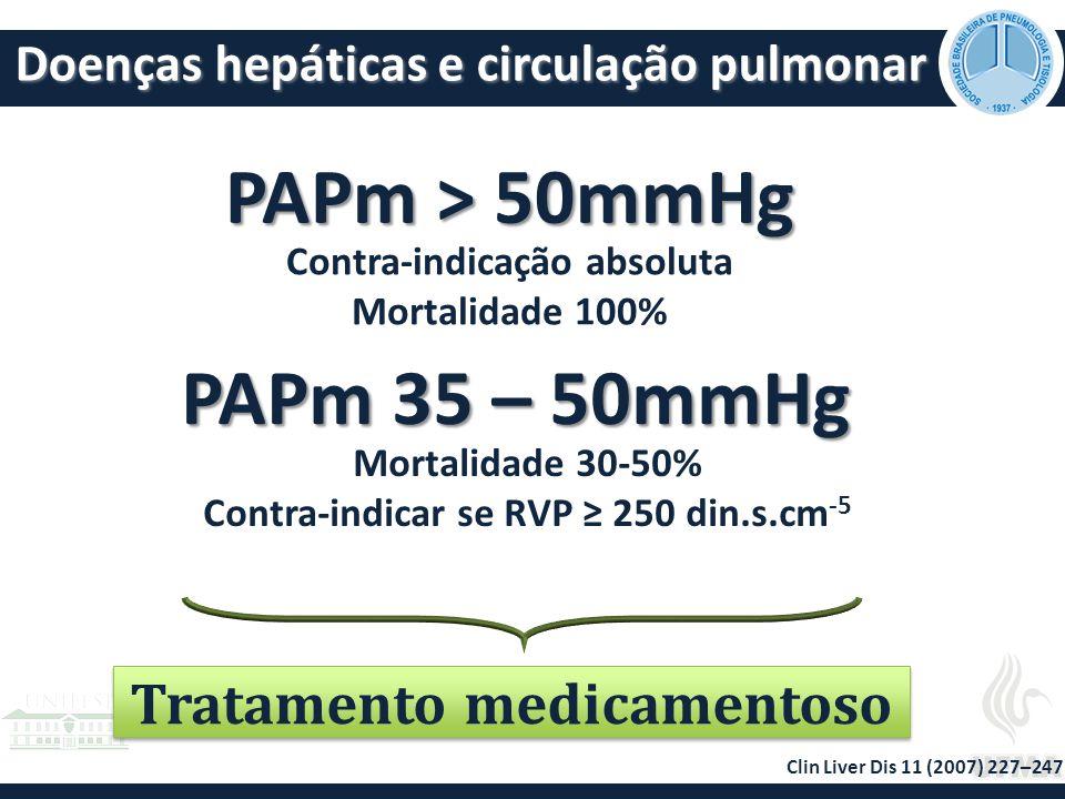 PAPm > 50mmHg PAPm 35 – 50mmHg Tratamento medicamentoso