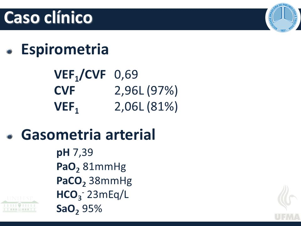 Caso clínico Espirometria Gasometria arterial VEF1/CVF 0,69