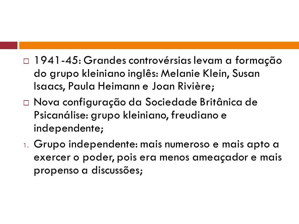 1941-45: Grandes controvérsias levam a formação do grupo kleiniano inglês: Melanie Klein, Susan Isaacs, Paula Heimann e Joan Rivière;