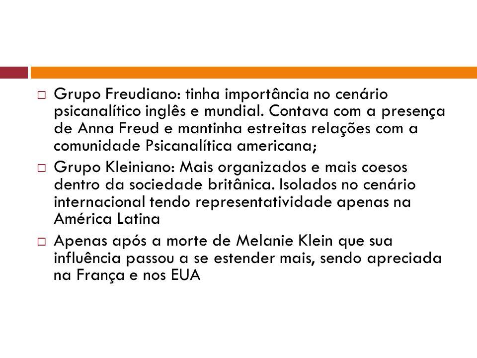 Grupo Freudiano: tinha importância no cenário psicanalítico inglês e mundial. Contava com a presença de Anna Freud e mantinha estreitas relações com a comunidade Psicanalítica americana;