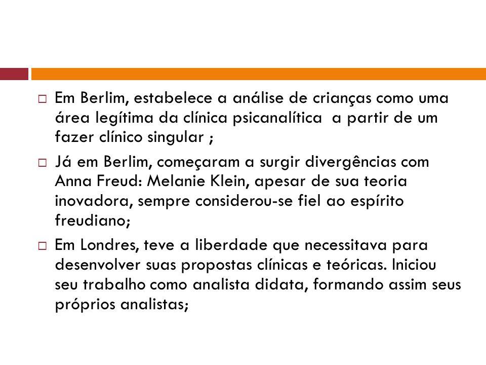 Em Berlim, estabelece a análise de crianças como uma área legítima da clínica psicanalítica a partir de um fazer clínico singular ;
