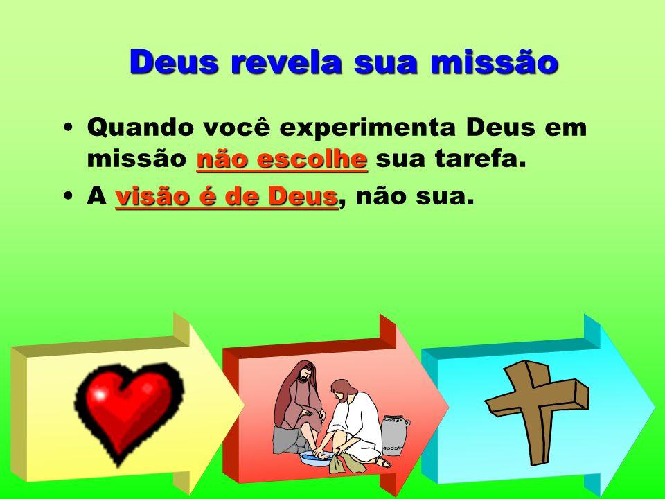 Deus revela sua missão Quando você experimenta Deus em missão não escolhe sua tarefa. A visão é de Deus, não sua.