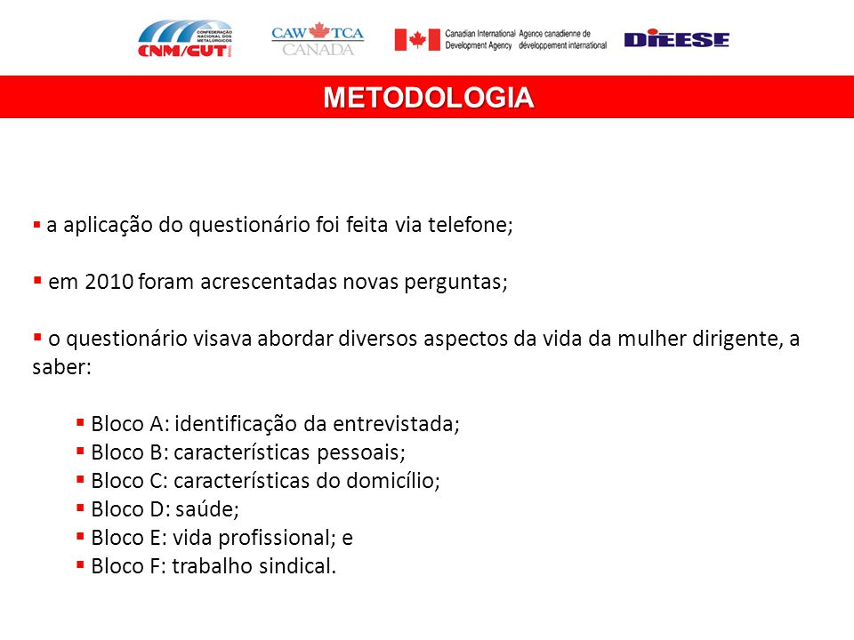 METODOLOGIA em 2010 foram acrescentadas novas perguntas;