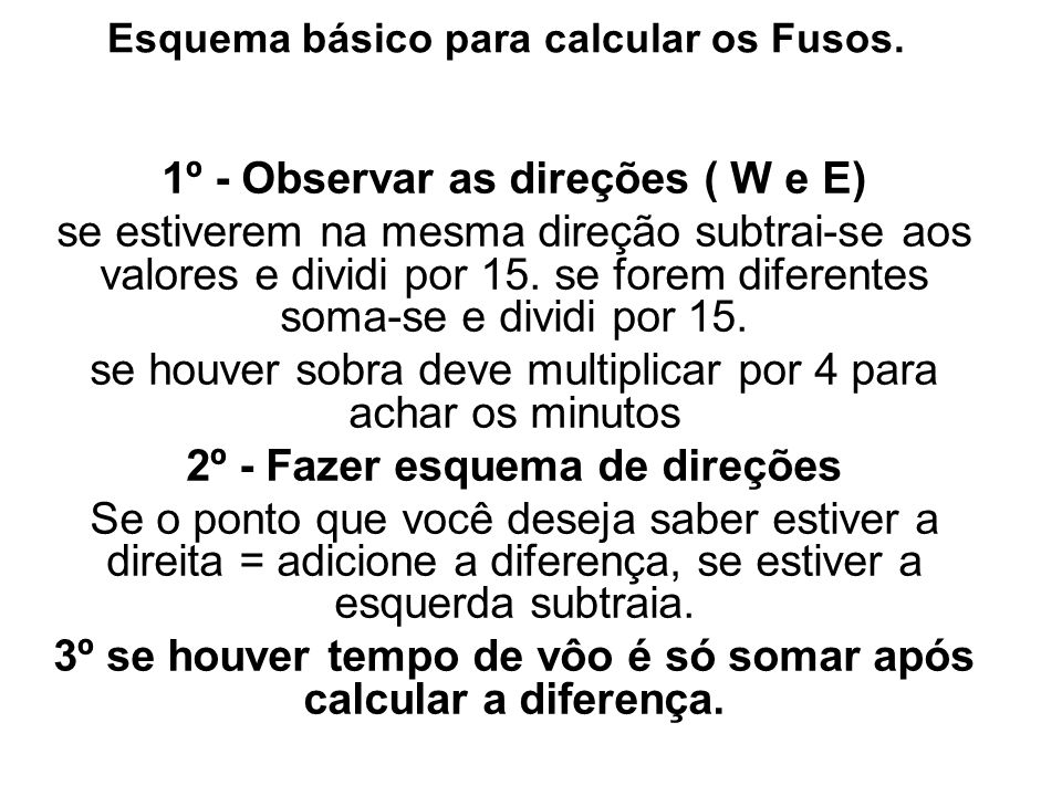 Esquema básico para calcular os Fusos.