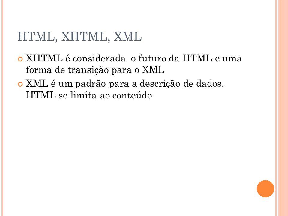 HTML, XHTML, XML XHTML é considerada o futuro da HTML e uma forma de transição para o XML.