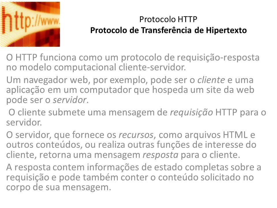 Protocolo HTTP Protocolo de Transferência de Hipertexto