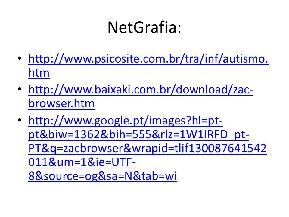 NetGrafia: http://www.psicosite.com.br/tra/inf/autismo.htm