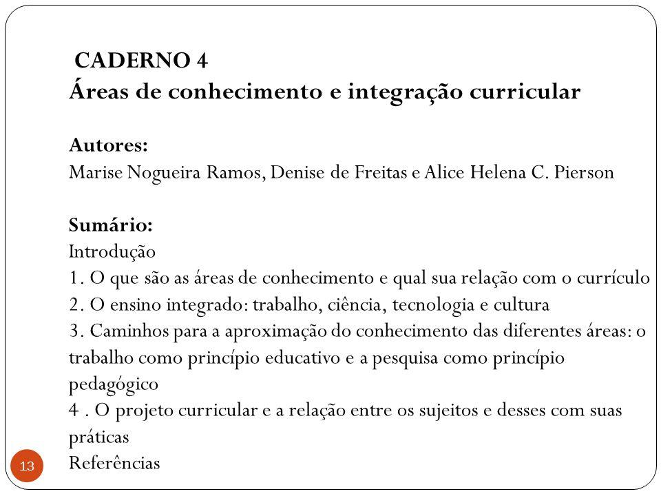 Áreas de conhecimento e integração curricular