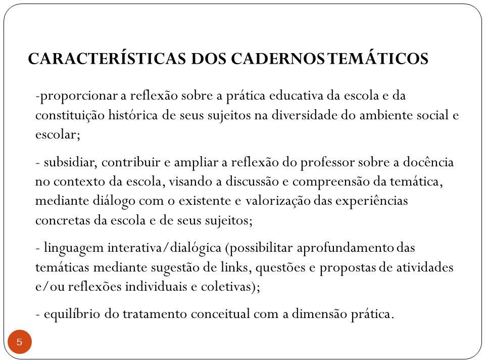 CARACTERÍSTICAS DOS CADERNOS TEMÁTICOS