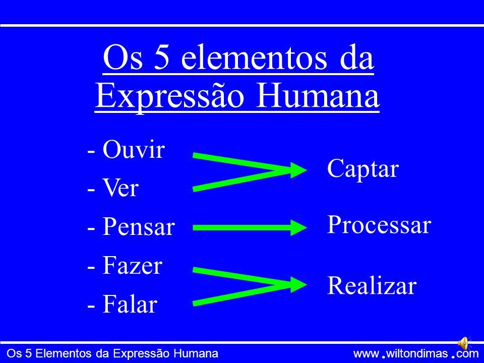 Os 5 elementos da Expressão Humana Ouvir Ver Captar Pensar Fazer Falar