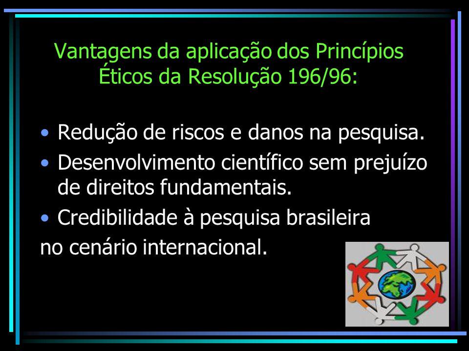Vantagens da aplicação dos Princípios Éticos da Resolução 196/96: