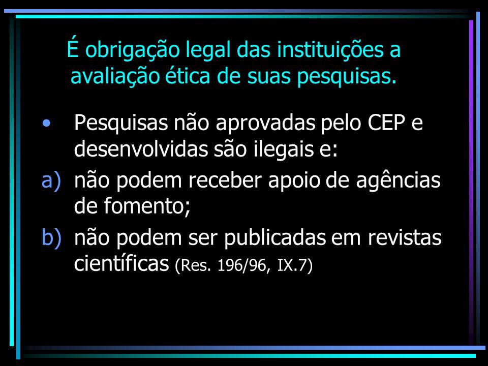 É obrigação legal das instituições a avaliação ética de suas pesquisas.