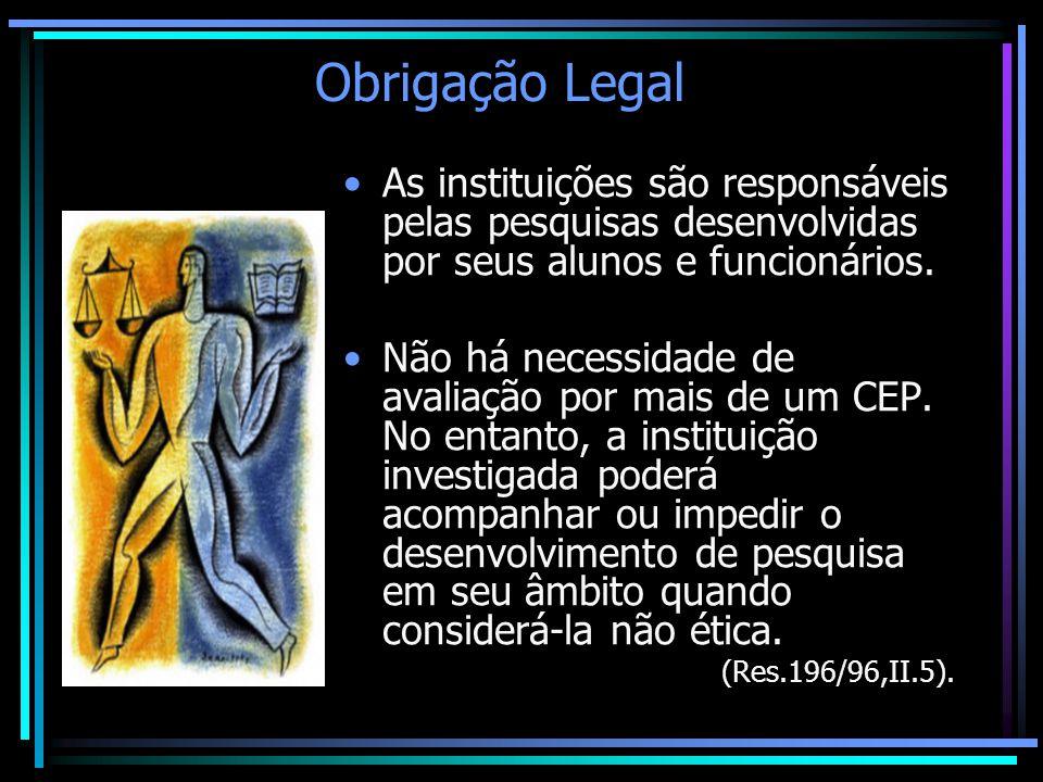 Obrigação Legal As instituições são responsáveis pelas pesquisas desenvolvidas por seus alunos e funcionários.