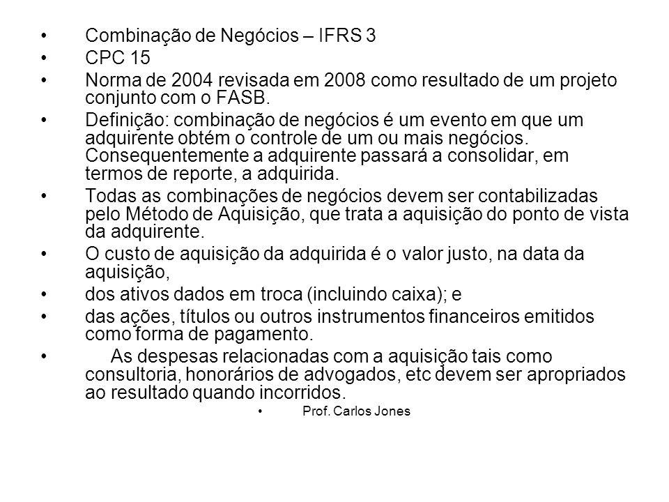 Combinação de Negócios – IFRS 3 CPC 15