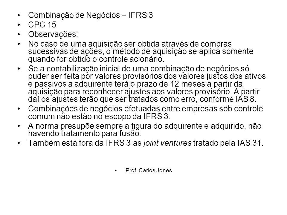 Combinação de Negócios – IFRS 3 CPC 15 Observações:
