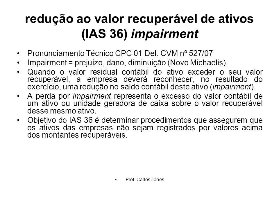 redução ao valor recuperável de ativos (IAS 36) impairment