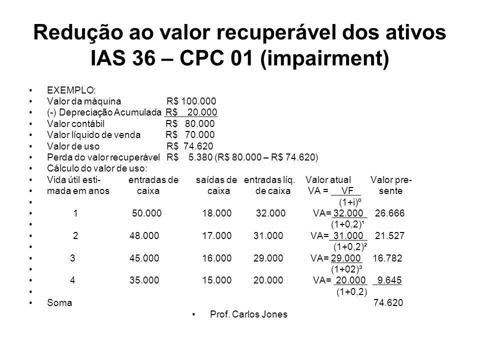 Redução ao valor recuperável dos ativos IAS 36 – CPC 01 (impairment)