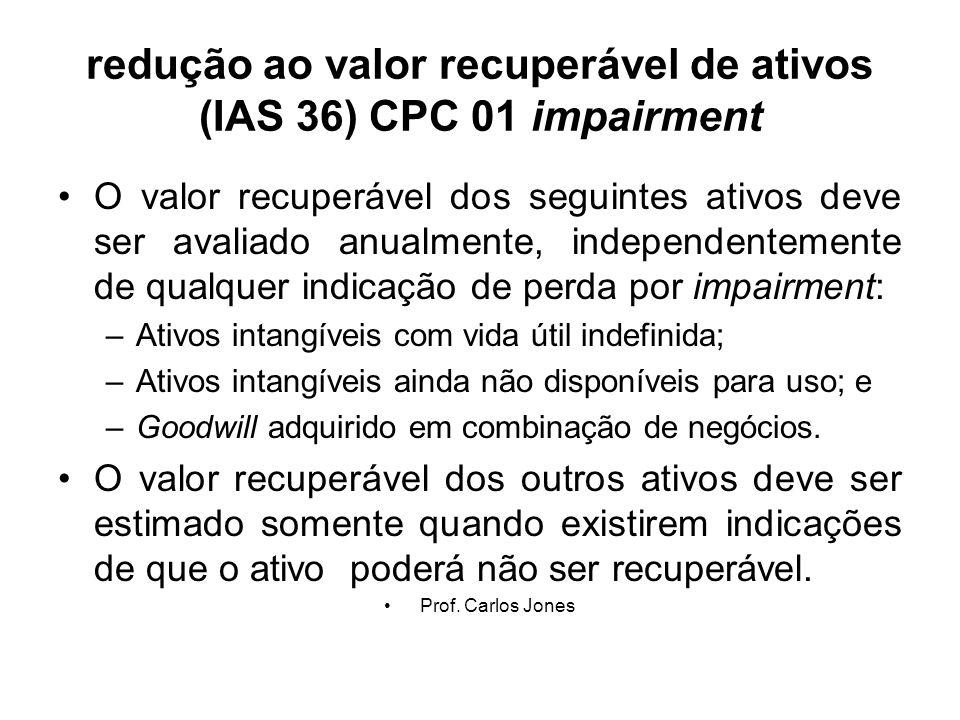 redução ao valor recuperável de ativos (IAS 36) CPC 01 impairment