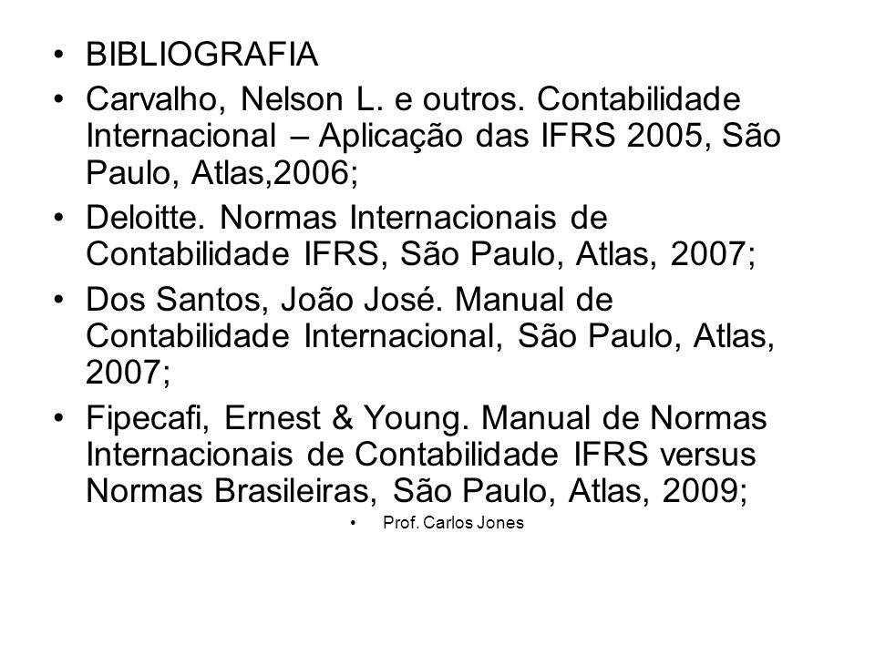 BIBLIOGRAFIA Carvalho, Nelson L. e outros. Contabilidade Internacional – Aplicação das IFRS 2005, São Paulo, Atlas,2006;