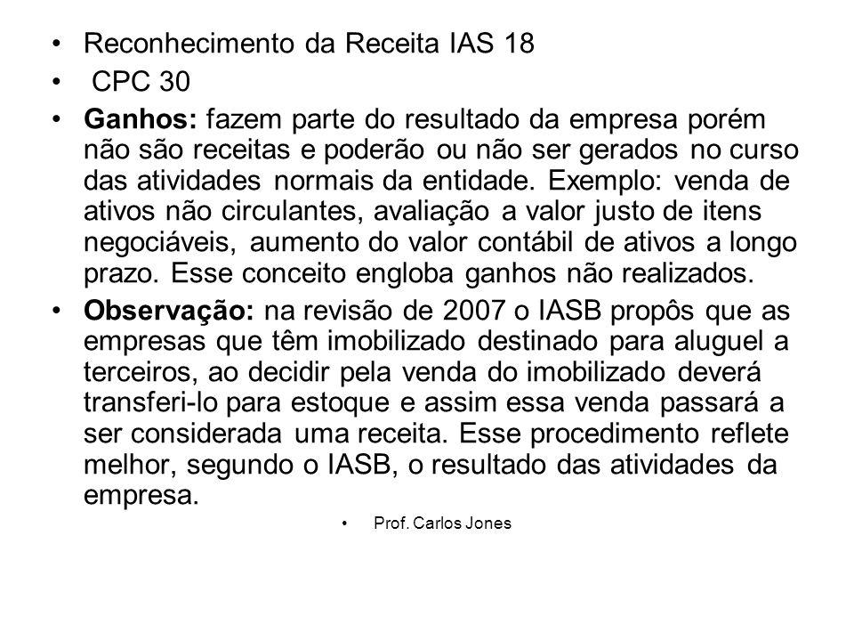 Reconhecimento da Receita IAS 18 CPC 30