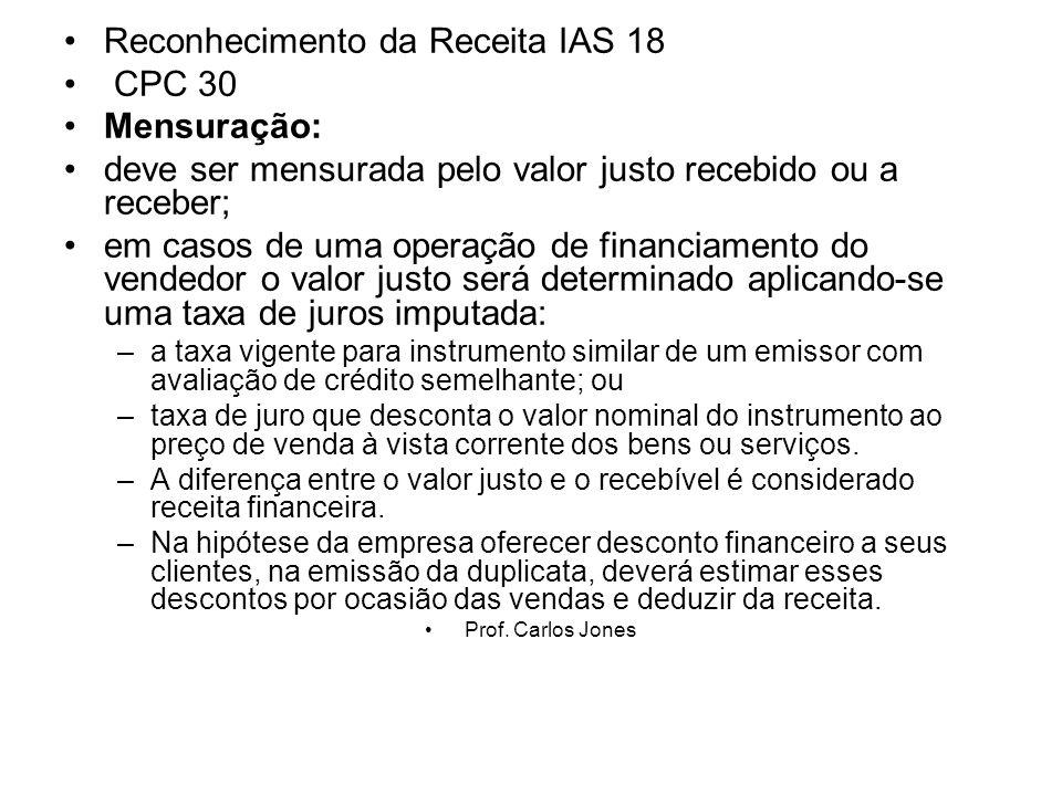 Reconhecimento da Receita IAS 18 CPC 30 Mensuração: