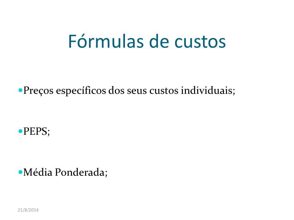 Fórmulas de custos Preços específicos dos seus custos individuais;