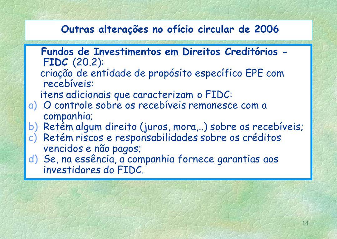 Outras alterações no ofício circular de 2006