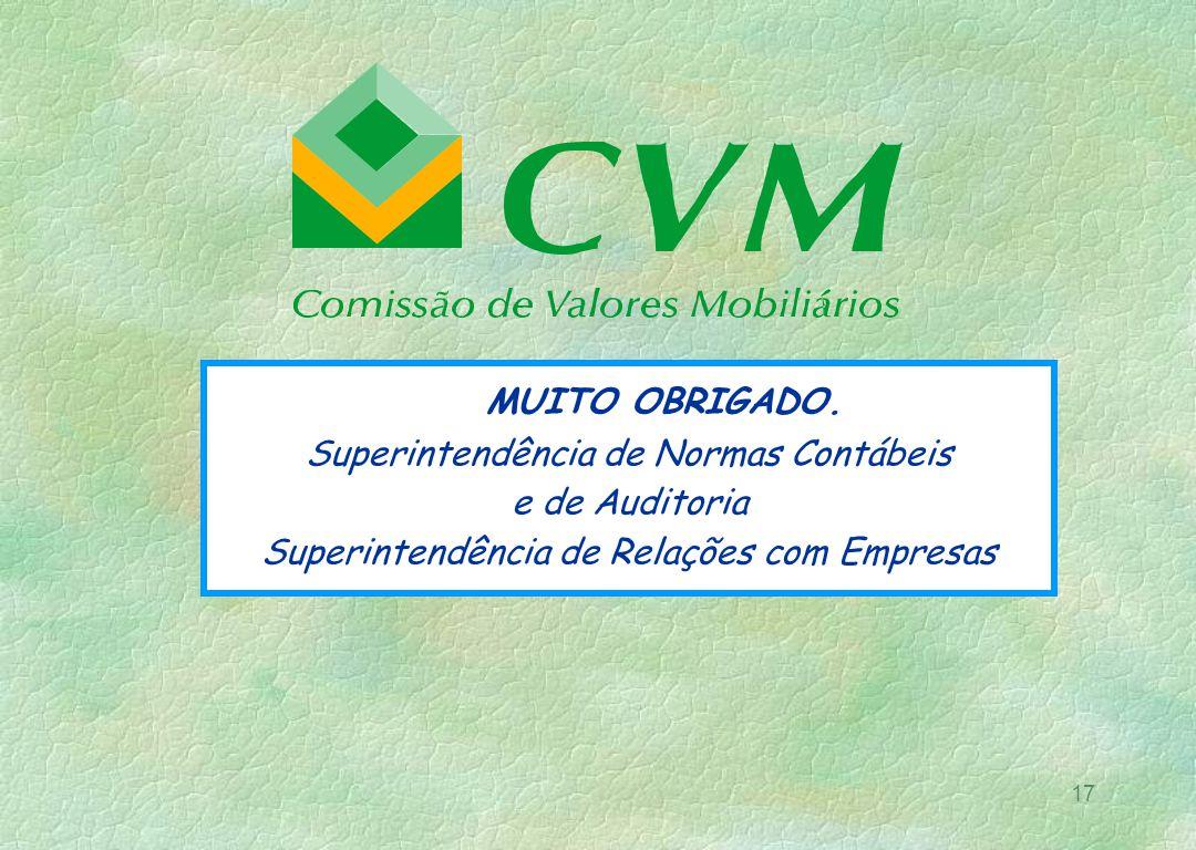 MUITO OBRIGADO. Superintendência de Normas Contábeis e de Auditoria