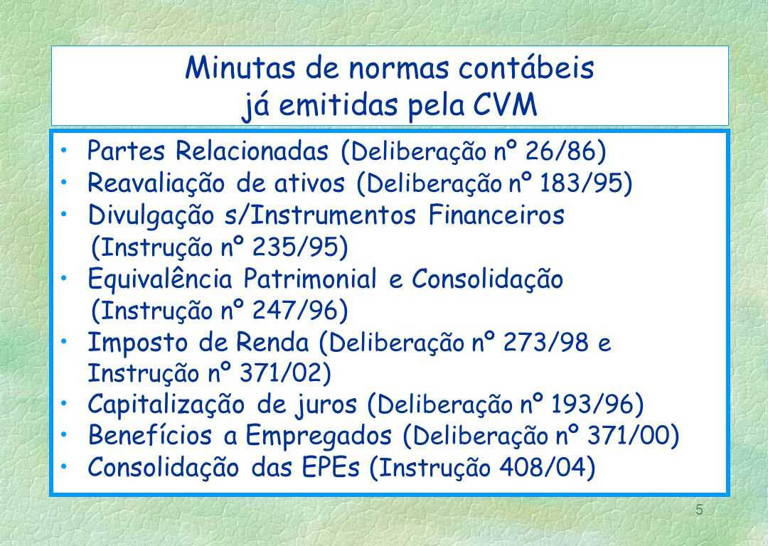 Minutas de normas contábeis já emitidas pela CVM