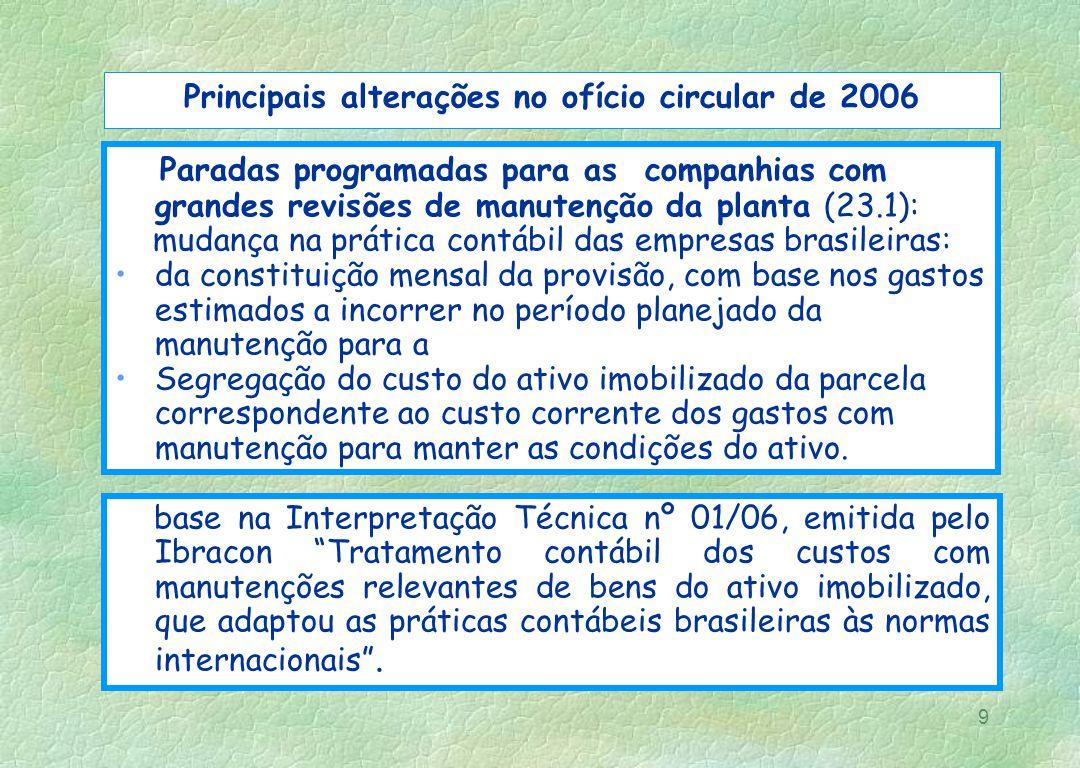 Principais alterações no ofício circular de 2006