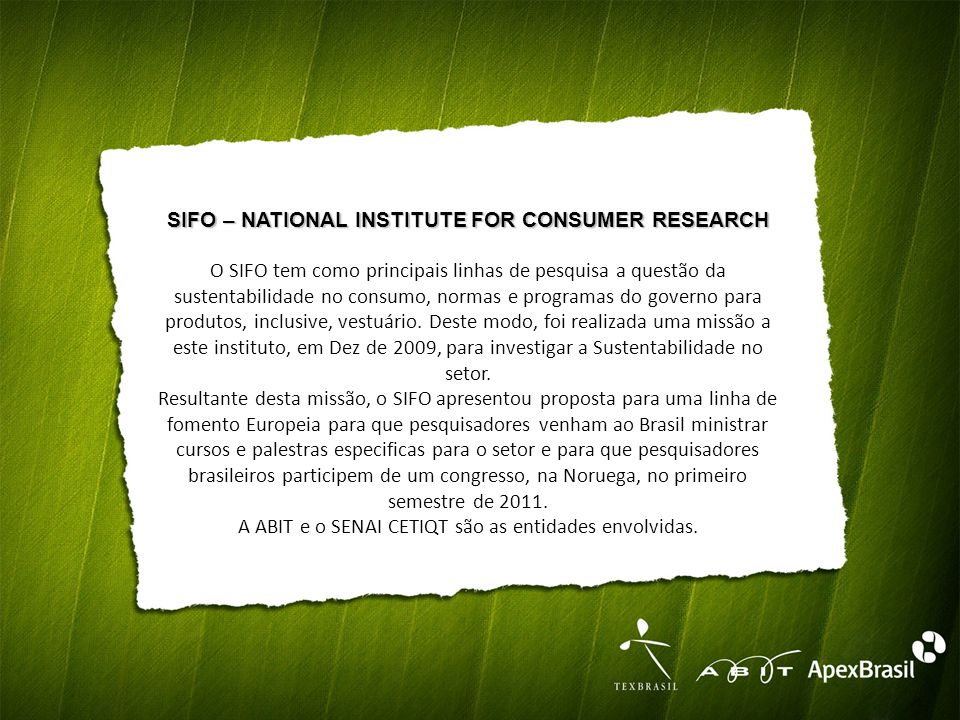 SIFO – NATIONAL INSTITUTE FOR CONSUMER RESEARCH