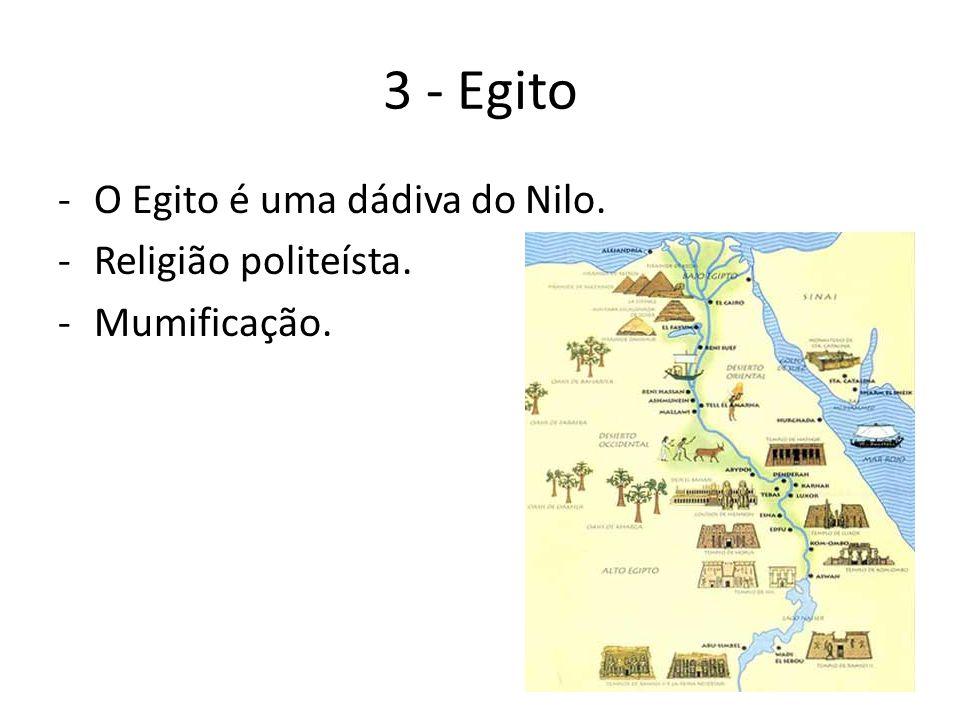 3 - Egito O Egito é uma dádiva do Nilo. Religião politeísta.