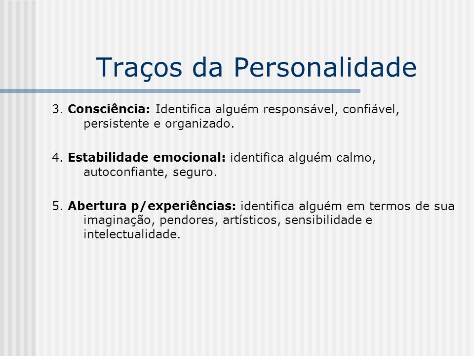 Traços da Personalidade