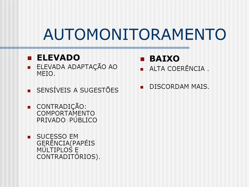 AUTOMONITORAMENTO ELEVADO BAIXO ELEVADA ADAPTAÇÃO AO MEIO.