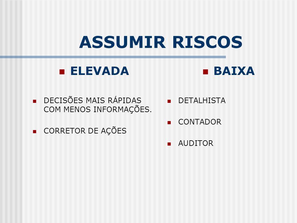 ASSUMIR RISCOS ELEVADA BAIXA