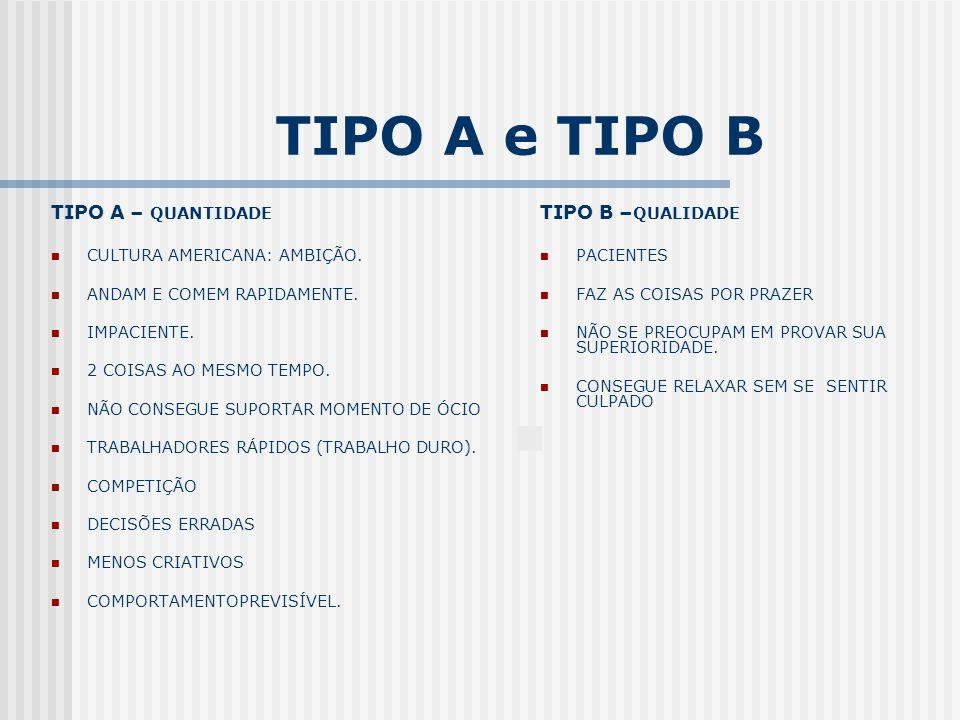 TIPO A e TIPO B TIPO A – QUANTIDADE TIPO B –QUALIDADE