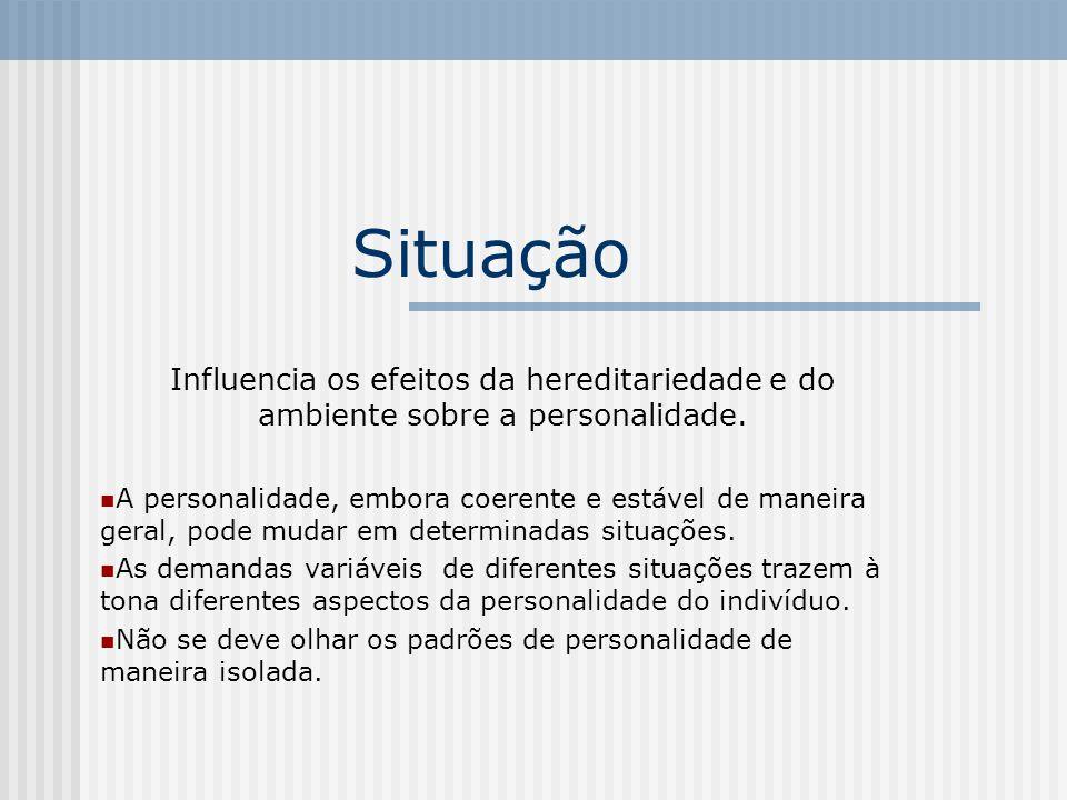 Situação Influencia os efeitos da hereditariedade e do ambiente sobre a personalidade.