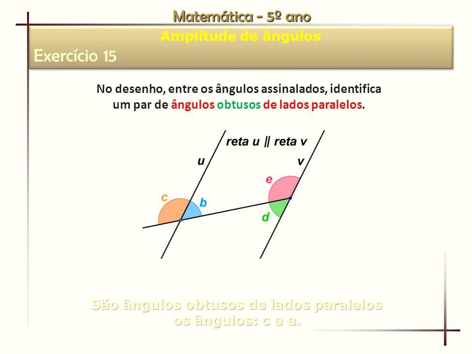 Exercício 15 Matemática - 5º ano Amplitude de ângulos