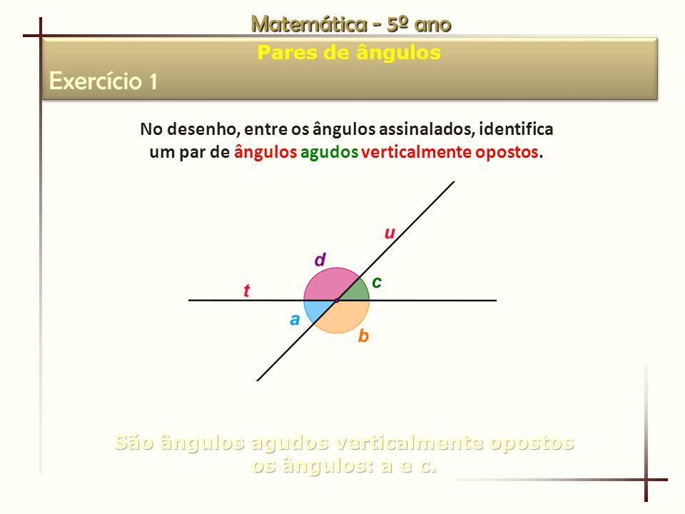 Exercício 1 Matemática - 5º ano Pares de ângulos