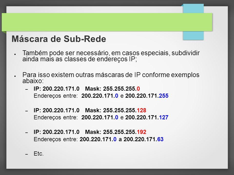 Máscara de Sub-Rede Também pode ser necessário, em casos especiais, subdividir ainda mais as classes de endereços IP;