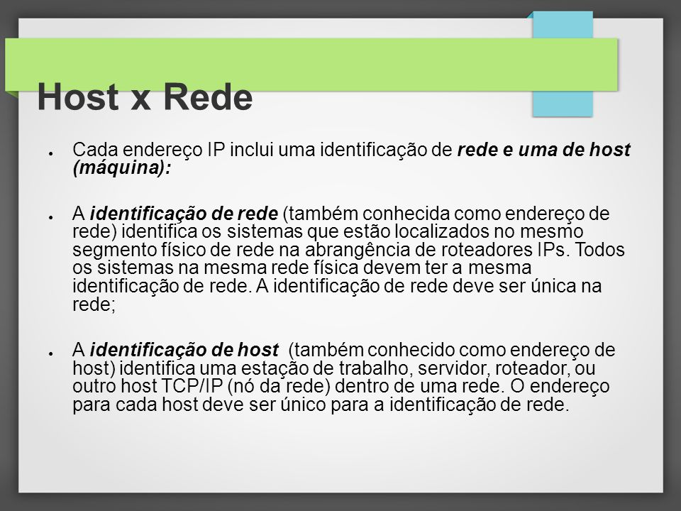 Host x Rede Cada endereço IP inclui uma identificação de rede e uma de host (máquina):