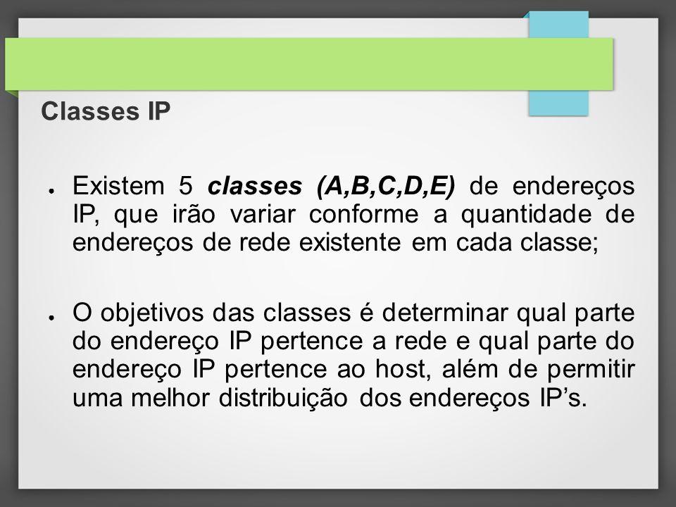 Classes IP Existem 5 classes (A,B,C,D,E) de endereços IP, que irão variar conforme a quantidade de endereços de rede existente em cada classe;