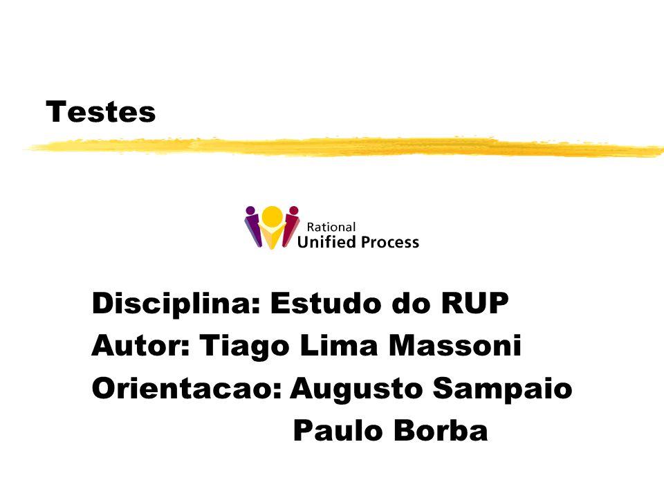 Testes Disciplina: Estudo do RUP Autor: Tiago Lima Massoni Orientacao: Augusto Sampaio Paulo Borba
