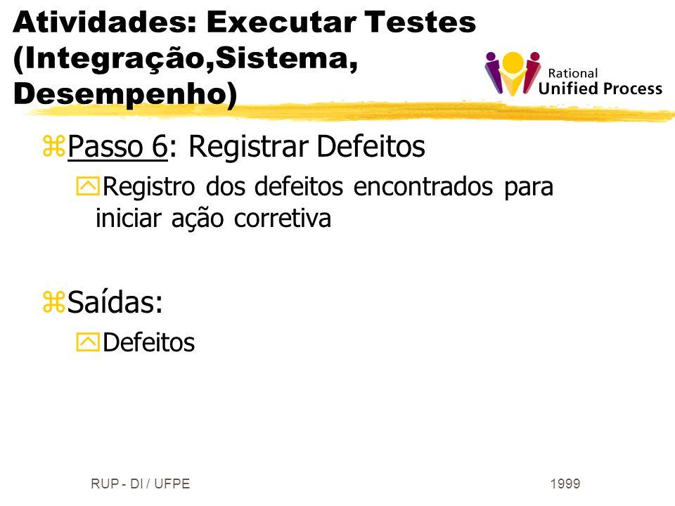 Atividades: Executar Testes (Integração,Sistema, Desempenho)